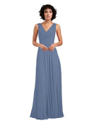 Affordable A-Line V-Neck Long Chiffon Dusty Blue Bridesmaid Dress Basma