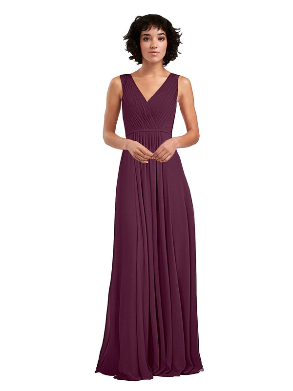Affordable A-Line V-Neck Long Chiffon Grape Bridesmaid Dress Basma