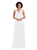 Affordable A-Line V-Neck Long Chiffon Ivory Bridesmaid Dress Basma
