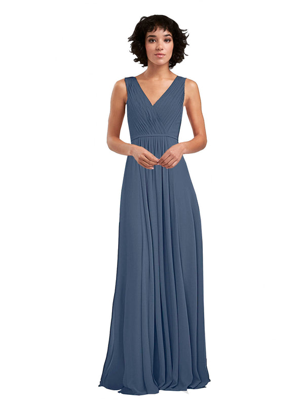 Affordable A-Line V-Neck Long Chiffon Silver Stone Bridesmaid Dress Basma