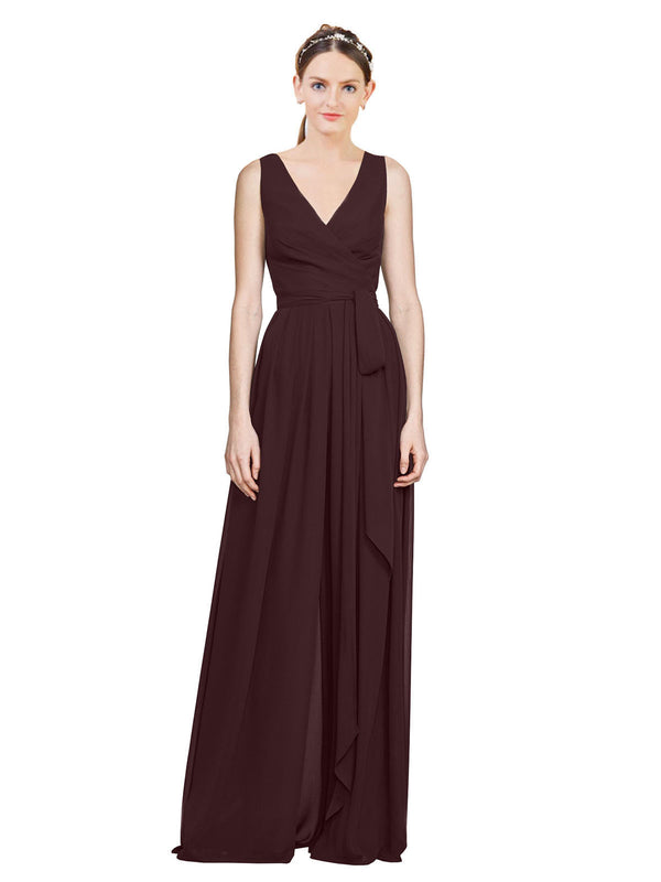 Affordable A-Line V-Neck Long Chiffon Dark Navy Bridesmaid Dress Kia