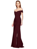 Affordable Jahnita Crepe Bridesmaid Dress Burgundy Gold