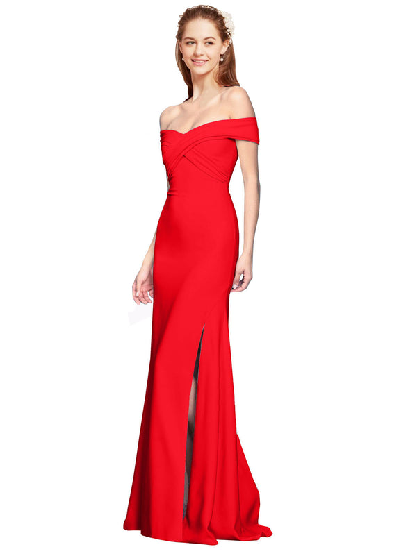 Affordable Jahnita Crepe Bridesmaid Dress Red