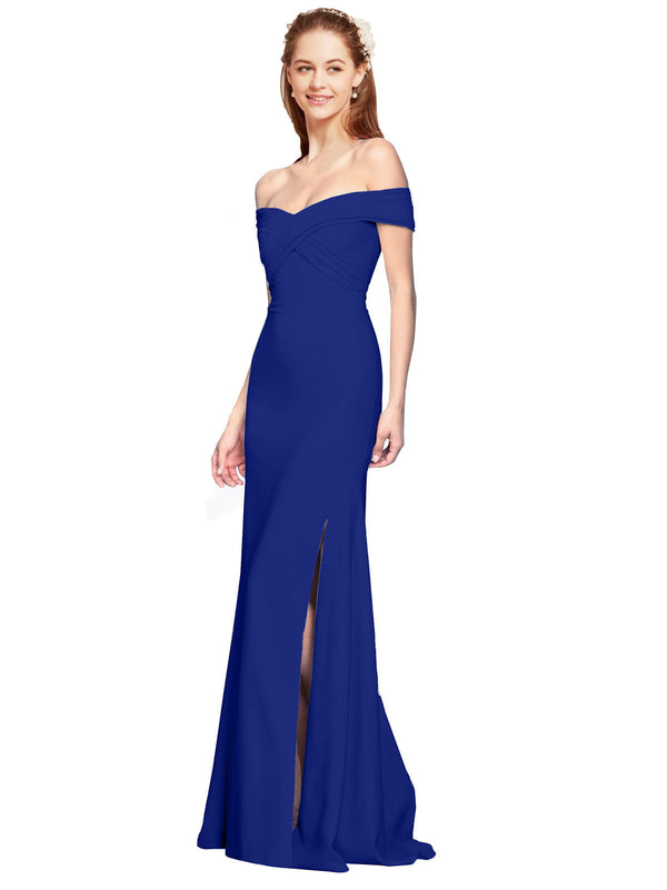 Affordable Jahnita Crepe Bridesmaid Dress Royal Blue