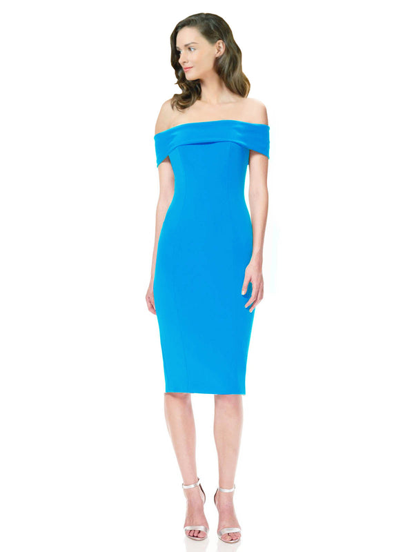 Affordable Carol Crepe Bridesmaid Dress Peacock Blue