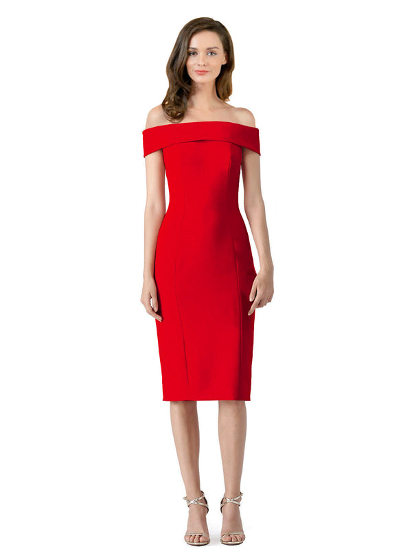 Affordable Carol Crepe Bridesmaid Dress Red