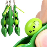2pcs Funny Green Beans Mini Squishy Soft Toys
