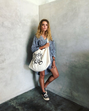 Large Shopping/Beach tote - Plastic ain't - حقيبة تسوق / شاطئ