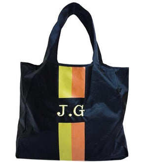Folding Totes - Black With Yellow and Orange Stripes Monogram