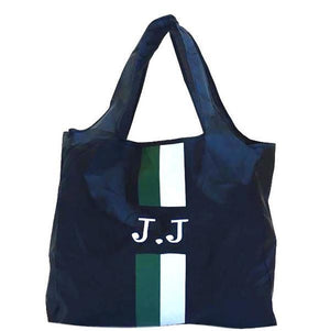 Folding Totes - Black With Green and White Stripes