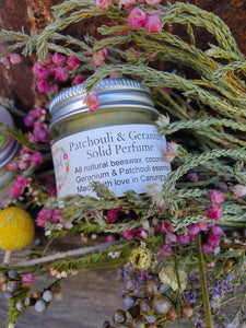 Balm ~ Solid perfume * Patchouli and Geranium