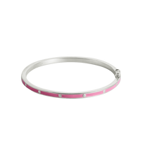 Load image into Gallery viewer, Pink Flower Enamel Bangle