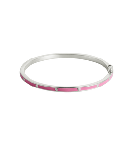 Pink Flower Enamel Bangle