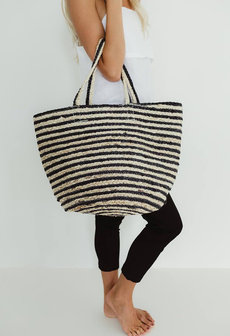 Jute Navy Strip Bag