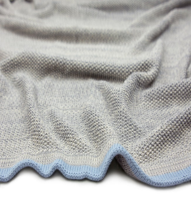 Baby Blanket Grey Blue Stripe
