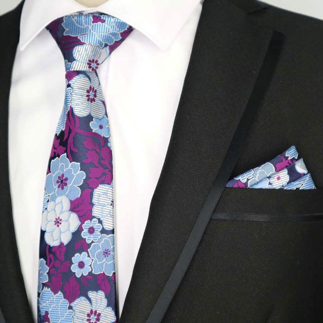 Blue & purple floral silk tie