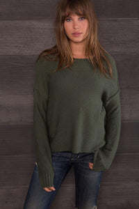Bella Back Seam Crew Fatigue Green