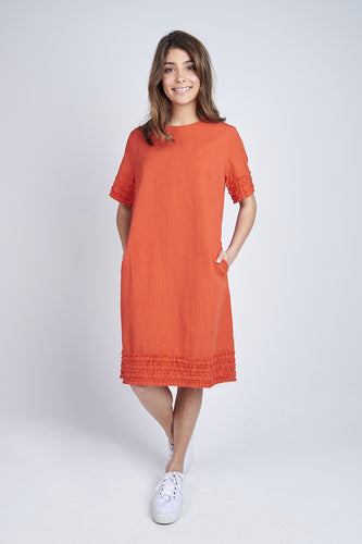 Ruffle Hem Dress Coral