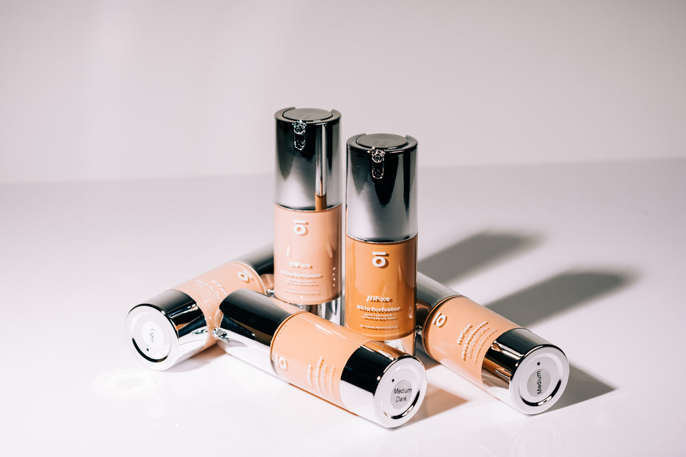 HBFace Skin Perfector shade collection. Bb cream in a silver and clear tube package.