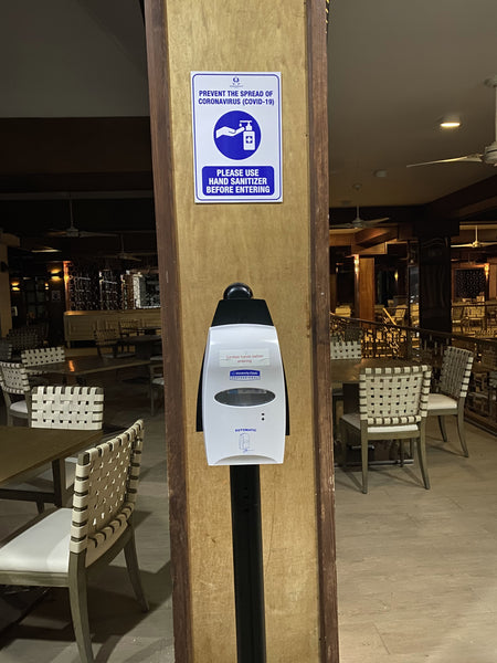 Sanitation stations are spread throughout the resort to reduce the spread of infection