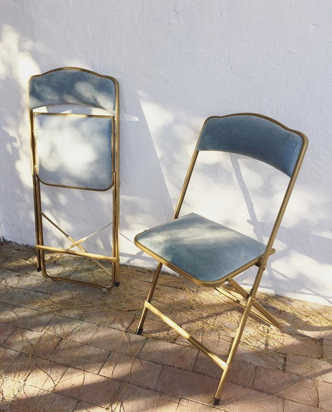 Pair of Velvet Folding Chairs