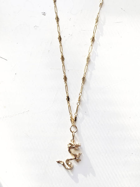 Solid Gold Dragon Necklace 14k