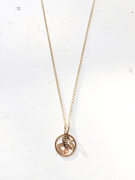 Solid Gold Snake Necklace 14k