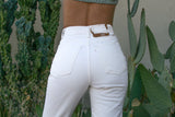High Waisted White Jeans