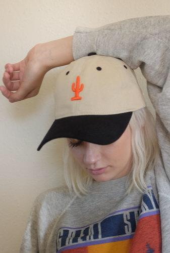 Blk & Orange Cactus Dad Hat
