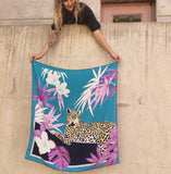 Tropical Lounging Leopard Tapestry