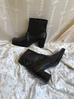 Dark Brown Square Toe Boots / 8.5