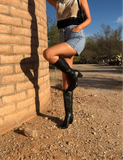 Square Toe 90's Knee Boots / 8
