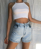 Vtg Flannel Denim Shorts