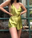 Lime Satin Romper