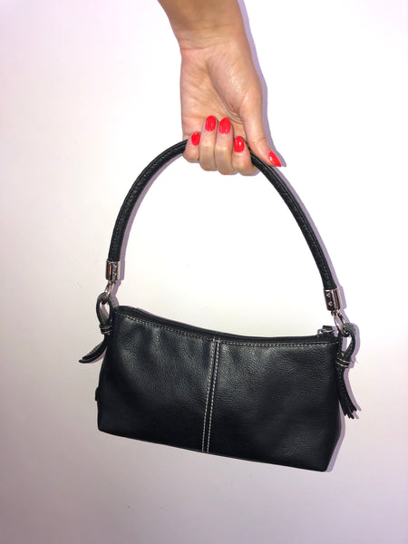 Black Leather Stitch Purse