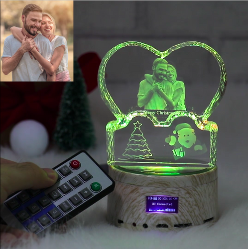 Custom 3D Photo Crystal Lamp Christmas Gifts