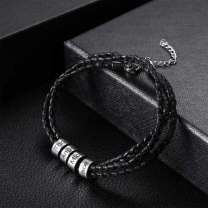 Men Bracelet with Custom Stainless Steel Beads