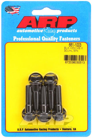 ARP M8 x 1.25 x 30 Black Oxide Hex Bolts (5/pkg) #661-1003