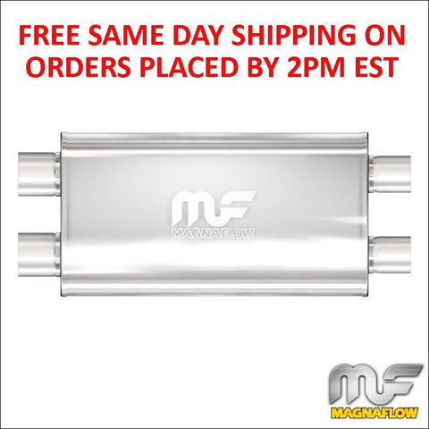 "Magnaflow Stainless Muffler 2.5"" Dual Inlet/Dual Outlet 22"" Body/28"" Long 12568"