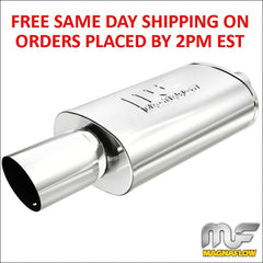Magnaflow Stainless Oval Muffler with Tip Race Series Inlet-Outlet 3in/4in 14834
