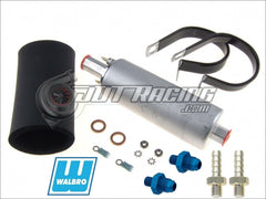 Walbro GSL391 190lph Inline External Fuel Pump & 400-939 Install Kit & (2x) 6AN Fittings