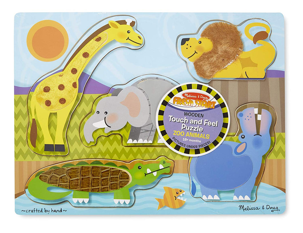 Wooden Touch and Feel Puzzle Zoo Animals