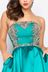 Vestido color teal sin tirantes - Laila's Dress