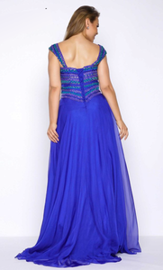 Vestido largo azul rey plus size - Laila's Dress