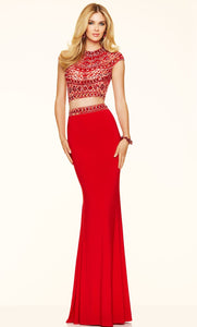 Vestido largo rojo con crop top - Laila's Dress