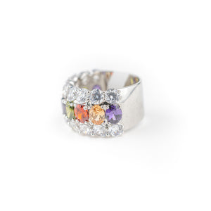 Anillo ancho con brillantes multicolor - Laila's Dress
