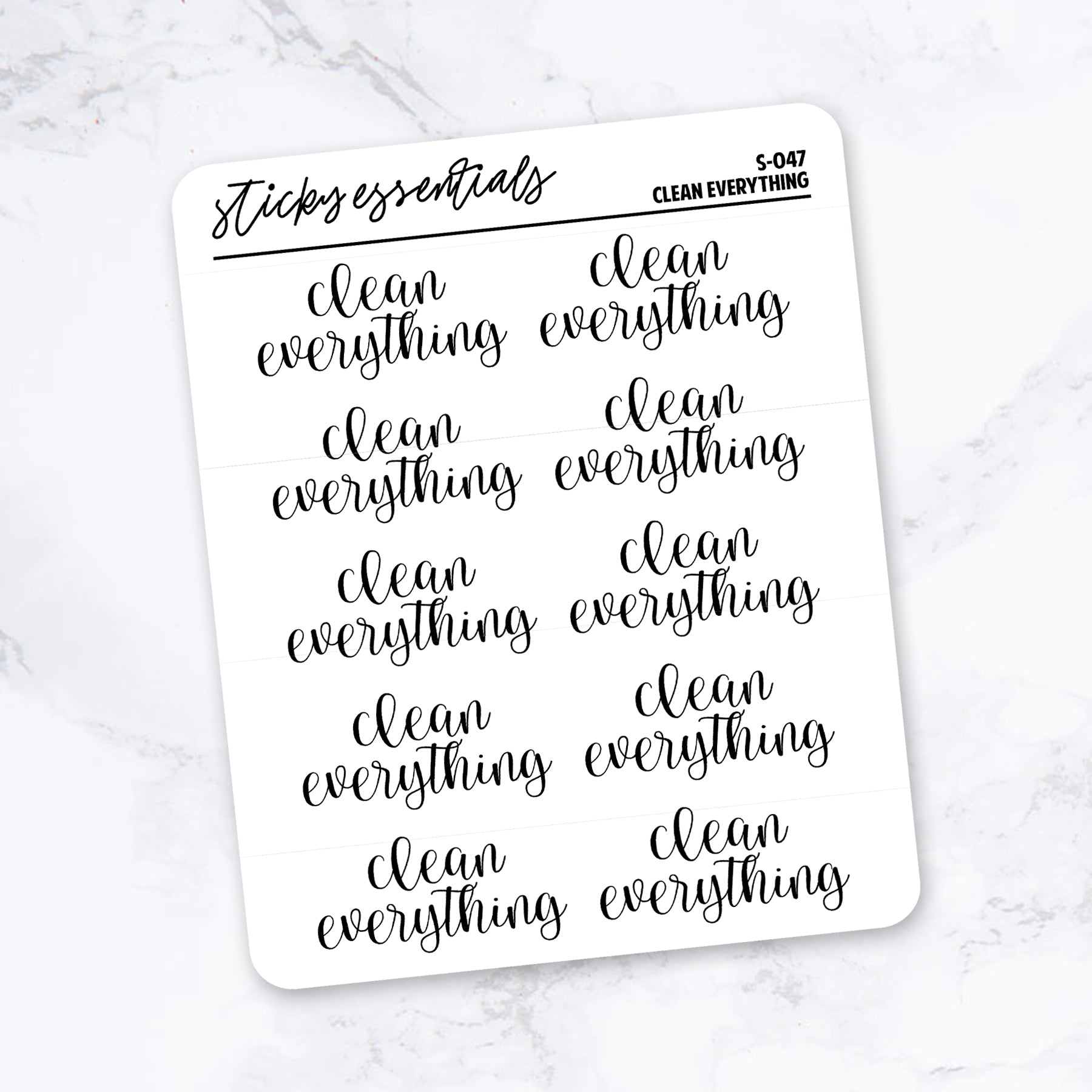 Clean Everything // Foiled Stickers - S-047