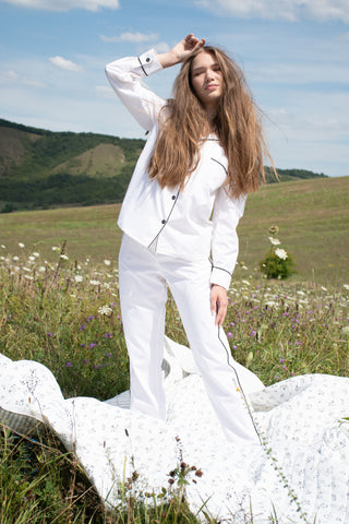 classic white pyjama set for women