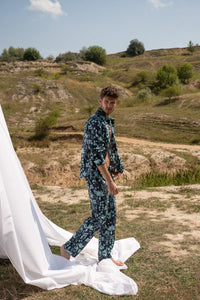 Circe's Garden Navy Blue Men Long Pyjama Set