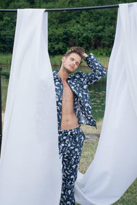 Luxury Odyssey Navy Blue Men Long Pyjama Set